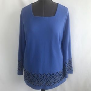 Bob Mackie Blue Long Sleeve Blouse Top